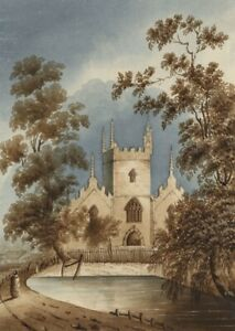 Margaret-Webster-Church-amp-Pond-Original-mid-19th-century-watercolour-painting