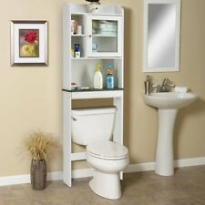 Item 3 Space Saver White Bathroom Over The Toilet Storage Shelf Cabinet  Organizer Wood  Space Saver White Bathroom Over The Toilet Storage Shelf  Cabinet ...