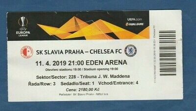 2019 Neuer Stil Orig.ticket Europa League 2018/19 Slavia Prag - Chelsea Fc 1/4 Finale !! Ruf Zuerst