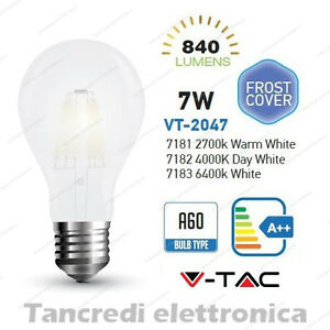 Lampadina-led-V-TAC-7W-E27-VT-2047-A60-frost-bianca-filamento-lampada-opaca