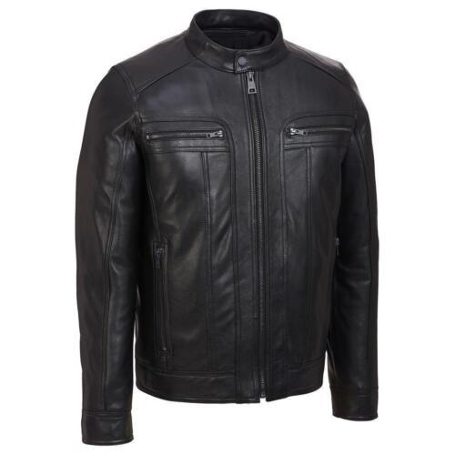 Men/'s Motorcycle Black Slim Fit Genuine Leather Jacket with Removable Hood