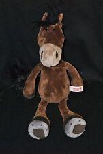 Peluche doudou cheval marron brun NICI queue & crinière noire 40 cm NEUF