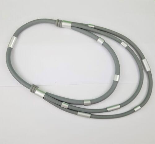 Lagenlook Style Multi Row Grey Rubber Matt Silver Tubes Contemporary Necklace