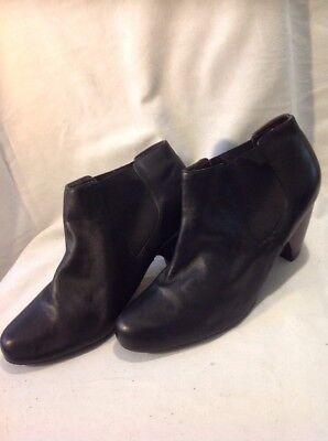 Botas al Tobillo de Cuero Negro E. tamaño 8 W