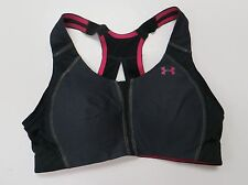 Under Armour Women UA High Impact Compression Armour Bra 32C Black Pink Heatgear