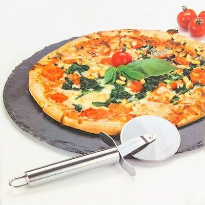 2 Piece Round Pizza Stone Baking Set Serving Plate Tray Cutting Board & Cutter
