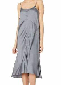 $106 Nevereven Women's Gray Solid Satin Seamed Sleeveless Slip Dress Size Medium Sufficient Supply
