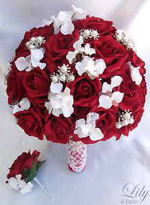 2pcs wedding bridal bride bouquet groom boutonniere gem jewelry