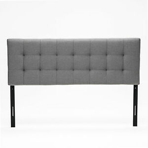 grey queen size upholstered linen headboard deep button tufted bedroom furniture ebay. Black Bedroom Furniture Sets. Home Design Ideas