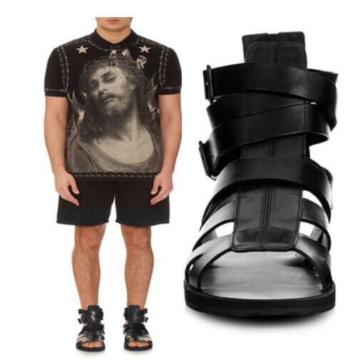 Gladiator Hot män Ankle Ankle Ankle Strap Slingback läder Sandal High Top Hollow Out skor  modern