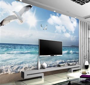 3D Waves Beach Sunshine 6578 Wall Paper Wall Print Decal Wall AJ WALLPAPER CA