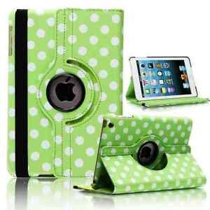 GREEN-Fashion-Dots-Leather-360-Rotating-Stand-Case-Cover-For-iPad-2-3-4-UK-POST