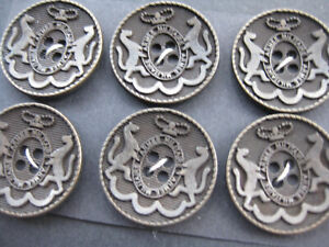 6 antique buttons metal very heavy buttons