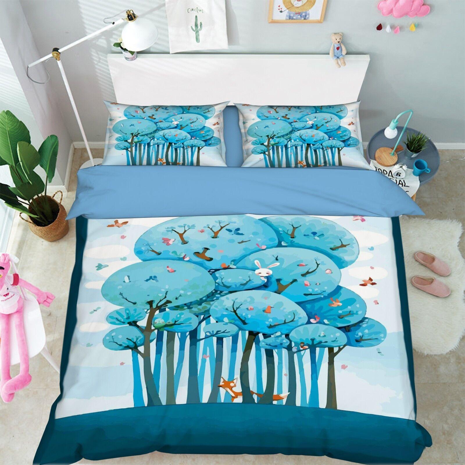 3D Forest Animal 6 Bed Pillowcases Quilt Duvet Cover Set Single Queen King AU