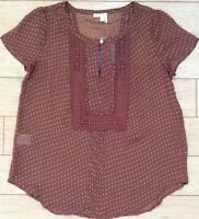 Meadow Rue Grassland Blouse Top Size M, L Brown (nude) Nw Anthropologie Tag