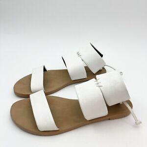 Rebecca Minkoff Emma White Sandals - M3261000 Thick Strap Leather Flat US 7.5