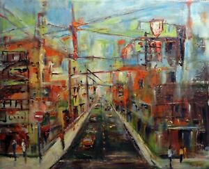 Abstract CITYSCAPE Original Painting URBAN SPACES Art 30x24 by BenWill