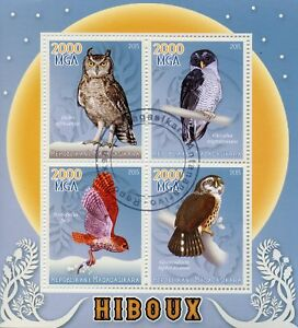 MADAGASCAR-2015-CTO-Gufi-Nero-e-Bianco-Owl-aegotheles-4-V-M-S-HIBOUX-birds-stamps
