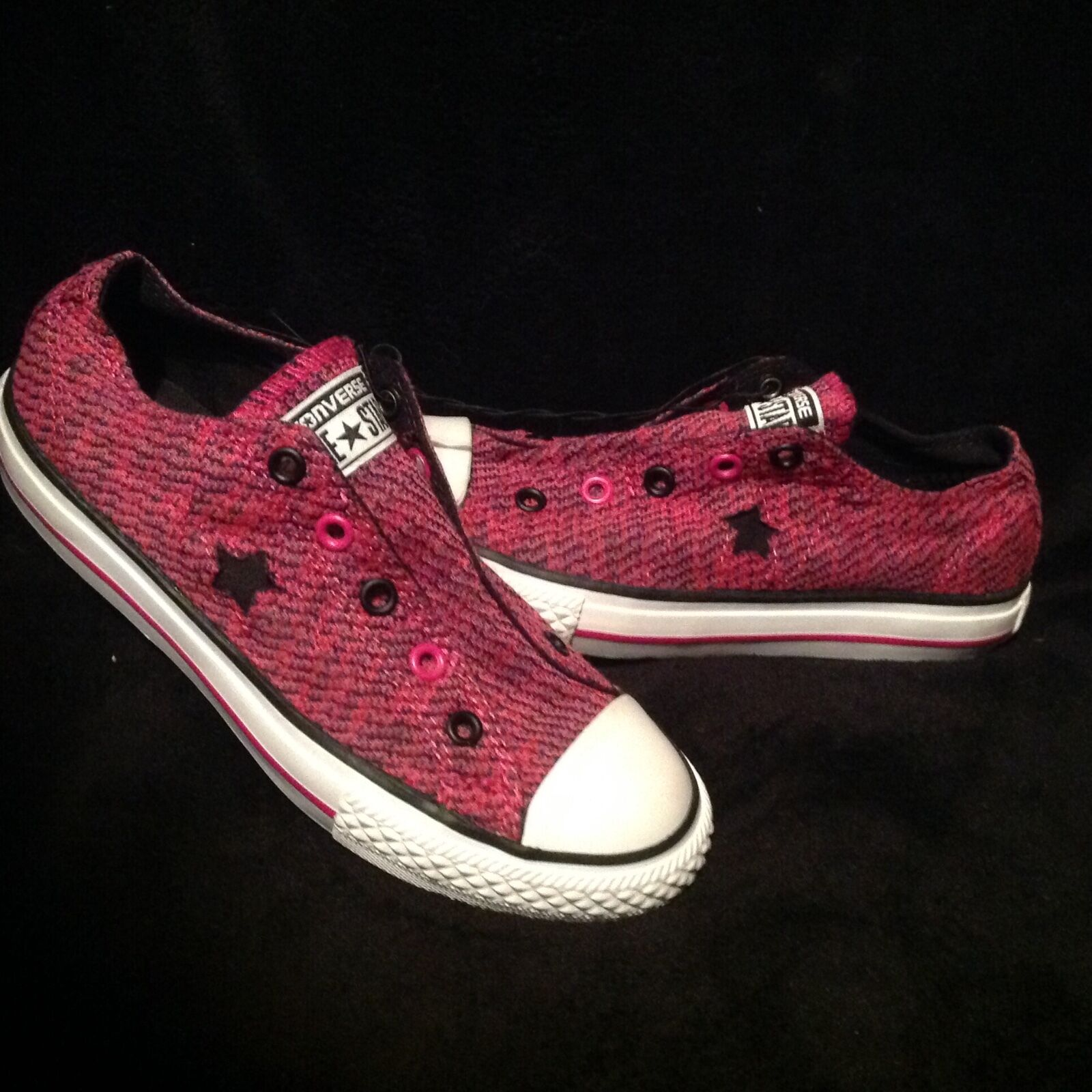 CONVERSE ONE STAR SHOES SNEAKER PINK BLACK GIRLS SIZE 1 or 2 NEW NO LACE