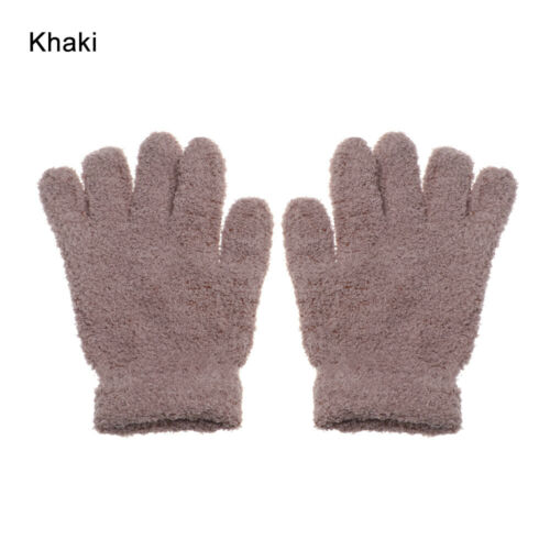 Boys Girls Cartoon Kids Gloves Coral Plush Mittens Candy Color Full Fingers