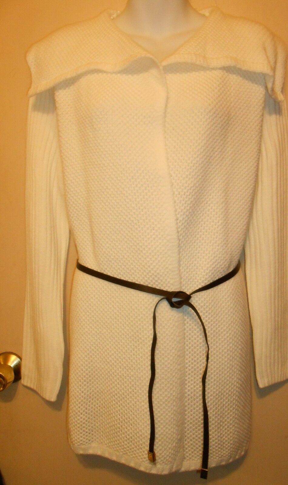 Jones New York Long Belted Cardigan Coat Sweater Cream XL NWT MSRP