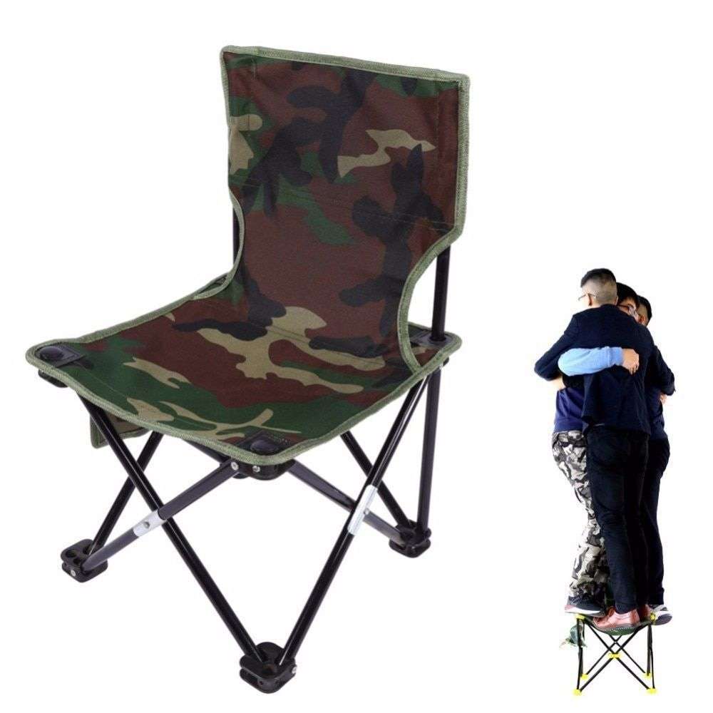 Camouflage Folding Chair Canvas Metal Durable Stable Comfortable Rest Seat Stool