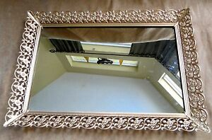 VTG-Mirror-Ornate-Upcycled-Painted-Vanity-Perfume-Tray-Footed-Filigree-Gold-Tone