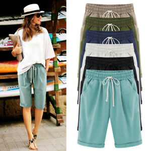 Women's Ladies Linen Drawstring Casual Shorts Pants High Waist Short  Trousers | eBay