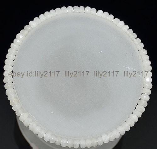 environ 19.05 cm Belle 2x4mm à facettes blanc jade Blotter Gemstone Beads Bracelet 7.5 in