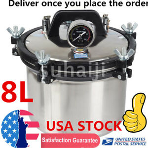 8L-Steam-Autoclave-Sterilizer-Dental-Pressure-Sterilization-Dual-Heating-Pot-USA
