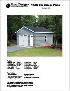 18 X 20 Car Garage Project Plans Material List Included Design