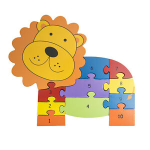 Orange Tree Toys Lion Wooden Number Puzzle Counts from 1-10