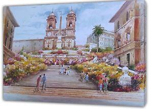 Humble Marches Espagnoles à Rome La Peinture à L'huile R Imprimer Sur Encadrée Toile Décoration Murale-afficher Le Titre D'origine