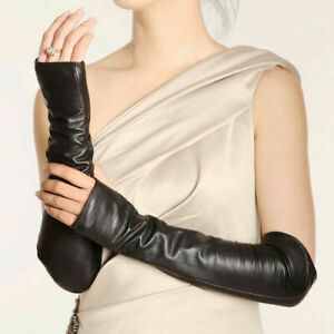 Ladies-Fingerless-Leather-Long-Sleeve-Elbow-Fashion-Driving-Gloves-Girls-Women
