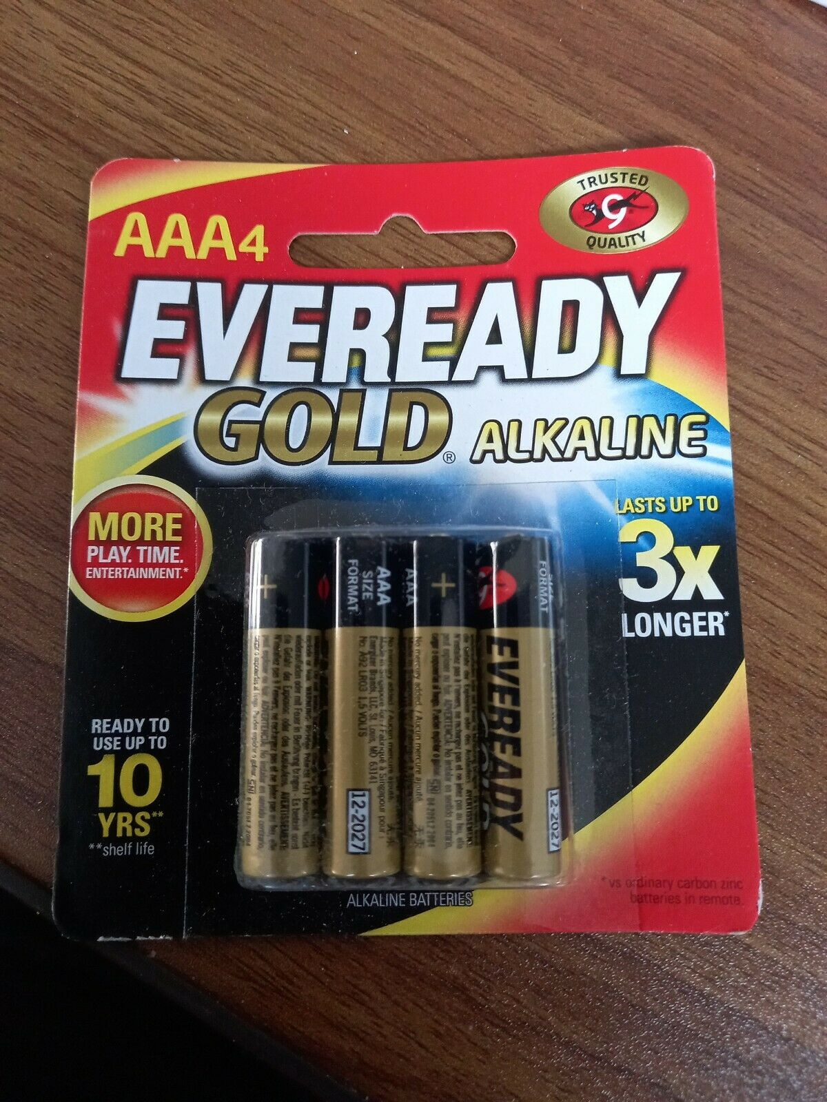NEW Eveready E300577300 Gold AAA Batteries 4 Pack - A92BP4