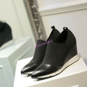 scarpe Punta Wedge tira 2018 a su elastiche Mid Womens tacco pumps primavera Fashion da punta wWvvnHSqTx