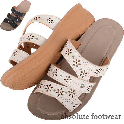 Ladies / Womens Lightweight Slip On Summer / Holiday Floral Mule Sandals / Shoes Reinigen Der MundhöHle.