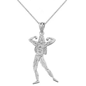 Solid 10k White Gold Weightlifting Curved Barbell Sports Pendant