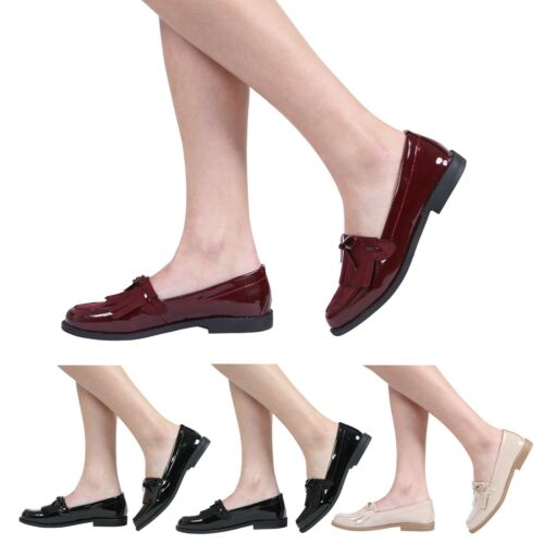 NEW WOMENS LADIES LOAFERS FLAT CASUAL OFFICE WORK SCHOOL FRINGE TASSEL SHOES