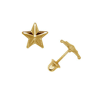 14K Pure Solid Yellow//White Gold Star Earrings  Set with Cubic Zirconia