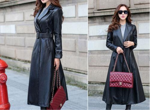 Women/'s Leather Trench Coat Genuine Soft Lambskin Winter Long Overcoat Jacket LC