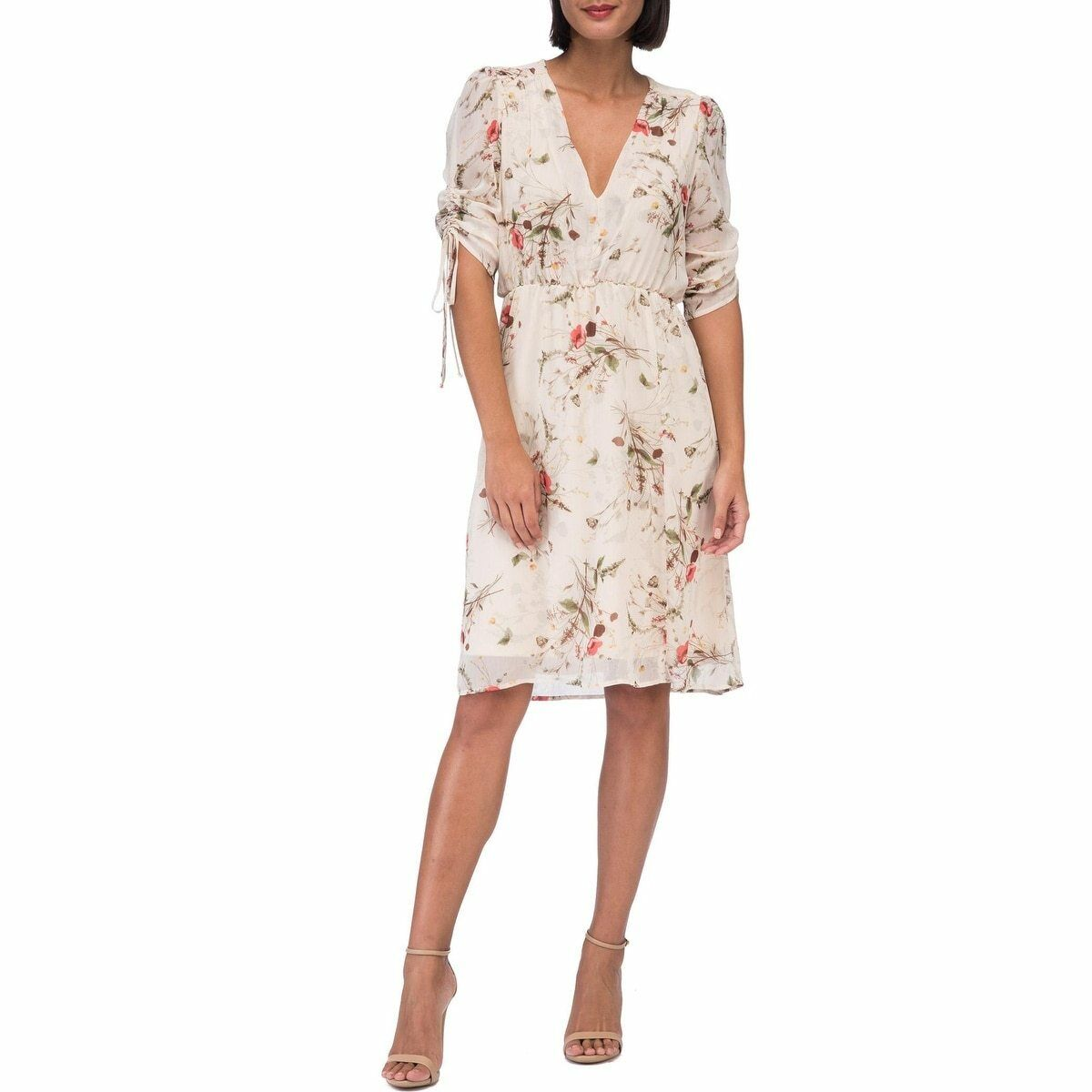 Nordstrom B by Bobeau Women's Ember Ruch Sleeve Botanical Print Dress Size XS