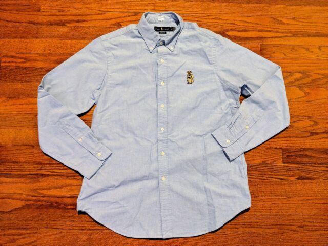 7dba3535 Polo Ralph Lauren Classic Fit Long Sleeve Button Up Shirt USA Bear Large  Blue