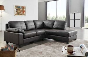 Details about Serenity New Modern Black Real Leather Corner Sofa With  Chaise Black Cheap Sale