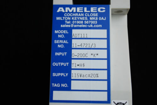 Amelec Trip Amplifier ADT111 115VAC For Thermocouple