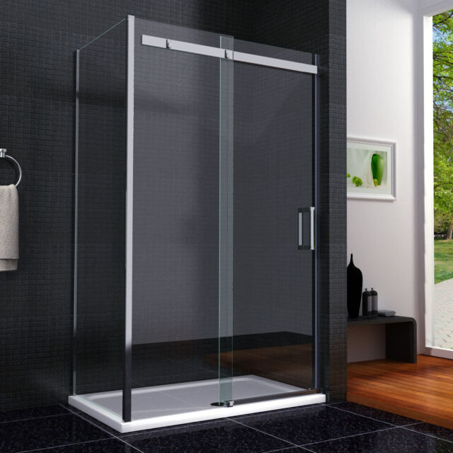 New Sliding Walk In Shower Door Enclosure 8mm Glass Screen Side Panel Stone Tray