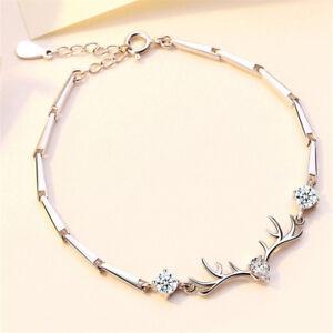 Luxury-925-Silver-Elk-Antler-Sapphire-Fashion-Bracelet-Jewelry-Christmas-Gifts