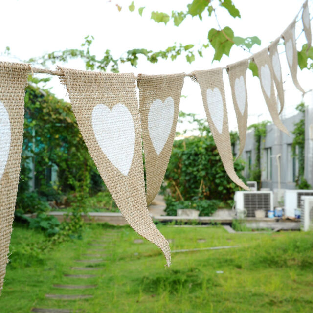 White Love Heart Linen Triangles Flag Banner Rustic Wedding Party Bunting Decor