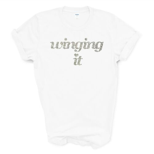 unisex and children/'s tshirts Winging It T-shirts silver glitter design