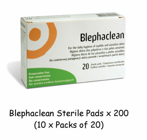 200 x Blephaclean Sterile Pads for Daily Hygiene of Eye Lids Preservative Free